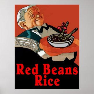 Poster Haricots rouges et riz, serveur vintage