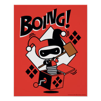 Poster Harley-Quinn-Dans-UN-Box de Chibi avec le marteau