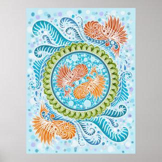 Poster Harmonie des mers, boho, hippie, de Bohème