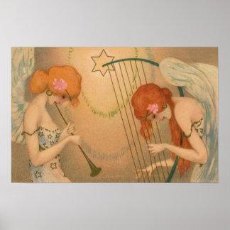 Poster Harpe victorienne de cannelure de musiciens d'ange