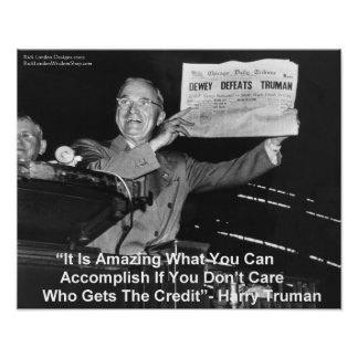 Poster Harry Truman amours Truman de Dewey tenant journal