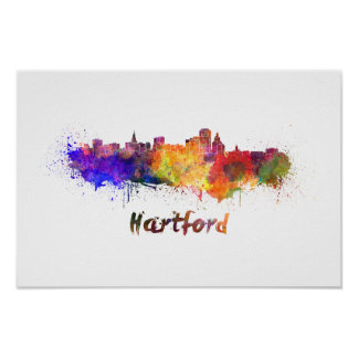 Poster Hartford skyline in watercolor