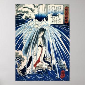 Poster Hatsuhana sous l'amende de Kuniyoshi de cascade de