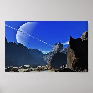Poster Hausse du cratère de Herschel de la lune Mimas de