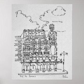 Poster Haussmann construisant la rue De Rennes, Paris de