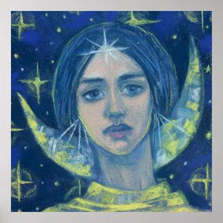 Poster Hecate, déesse de lune, peinture en pastel, art