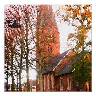 Poster Herfst dans Haren Dorpcentrum Pays-Bas Hollande