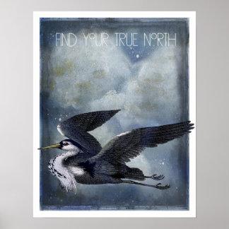 Poster Héron de gris de nord vrai