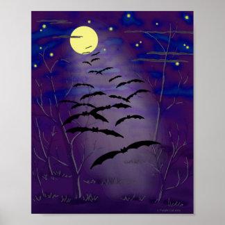 Poster Heure enchantante avec la pleines lune et battes