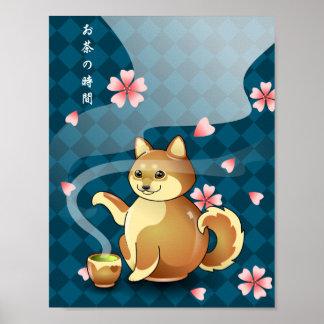 Poster Heure pour l'affiche de kanji de théière de Chibi