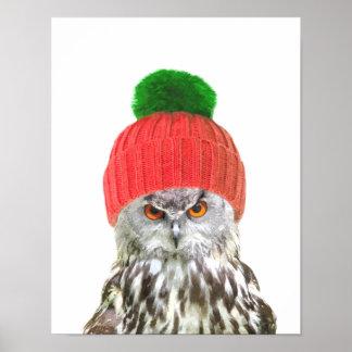 Poster Hibou avec le portrait animal drôle de casquette
