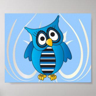 Poster Hibou bleu mignon