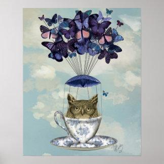 Poster Hibou dans la tasse de thé