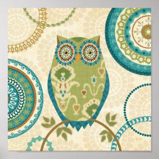 Poster Hibou décoratif avec des conceptions circulaires