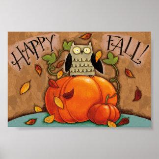 Poster Hibou et citrouille heureux d'automne