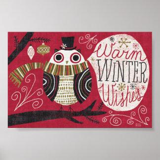 Poster Hibou original de Noël