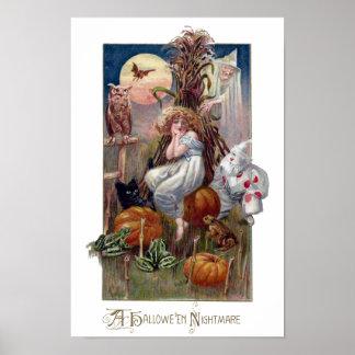 Poster Hibou vintage et sorcière de chat de clown de