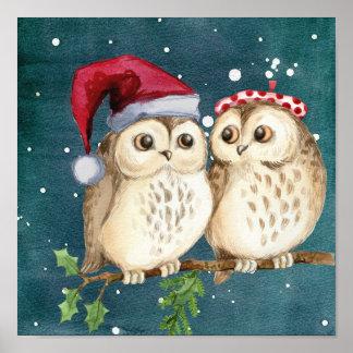 Poster Hiboux de Noël sur la branche la nuit