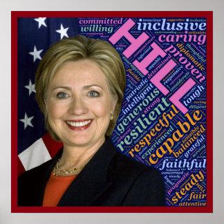 Poster Hillary Clinton Pres, drapeau et affiche de soin