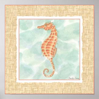 Poster Hippocampe d'orange d'océan