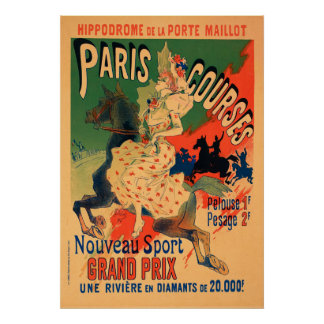 Poster Hippodrome de Porte Maillot, Paris chasse le cru