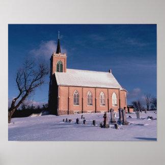 """Poster Hiver 14"""" d'église du Wisconsin mi x 11"""", (matte)"""