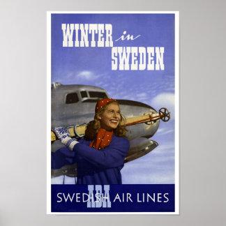 Poster Hiver vintage dans le voyage de la Suède