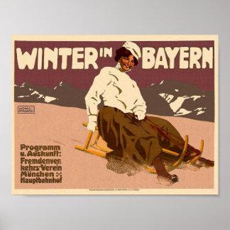 Poster Hiver vintage en affiche de classique de voyage de