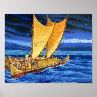 Poster Hokulea voyageant le canoë