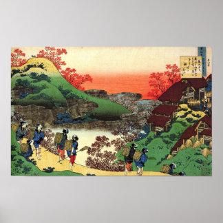 Poster Hokusai - art japonais - vue fraîche de paysage du