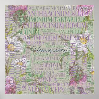 Poster Homéopathie - art de mot avec des remèdes