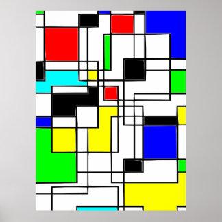 Poster Hommage aléatoire de carrés à Mondrian