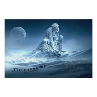 Poster Homme dans la sculpture en imaginaire de montagne