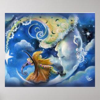 Poster Homme-dans-le-Lune et sorcière