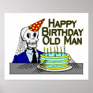 Poster Homme de toile d'araignée de joyeux anniversaire