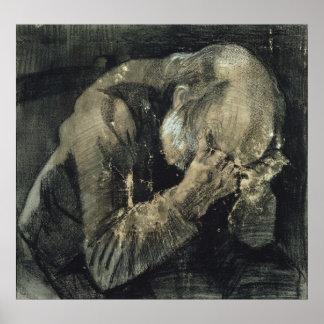 Poster Homme de Vincent van Gogh | avec sa tête dans des