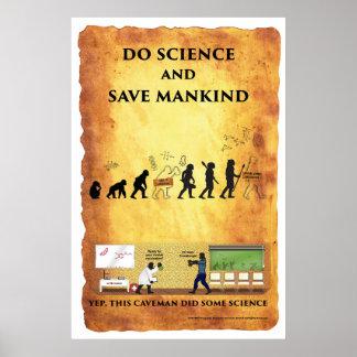Poster Homme des cavernes futé : Faites la Science et