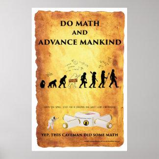 Poster Homme des cavernes futé : Faites les maths et