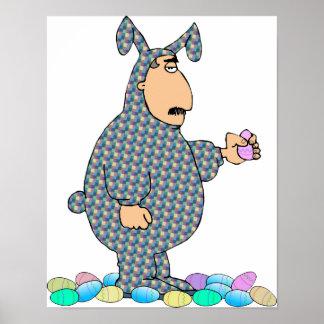 Poster Homme en tant qu'affiche de lapin de Pâques