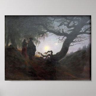 Poster Homme et femme contemplant la lune