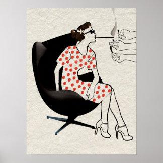 Poster Hommes offrant à femme sexy une affiche légère