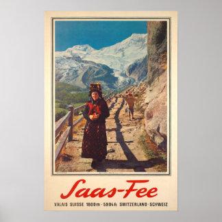 Poster Honoraires de Saas, Valais, Suisse, affiche de ski