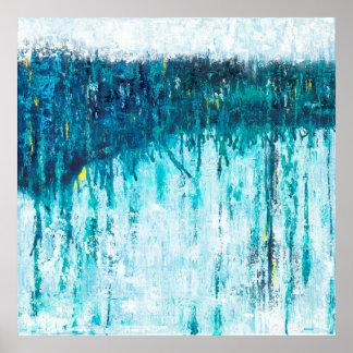 Poster Horizon bleu - art abstrait bleu