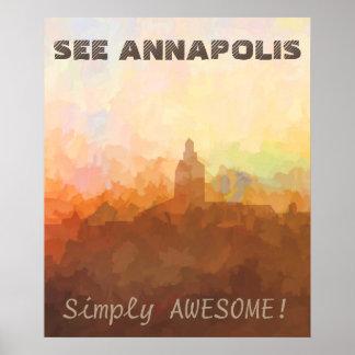 Poster Horizon d'Annapolis le Maryland EN NUAGES