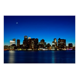 Poster Horizon de Boston avec la lune