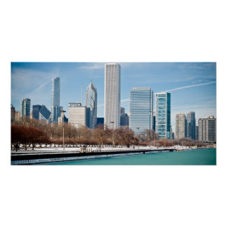 Poster Horizon de Chicago à travers le lac Michigan conge
