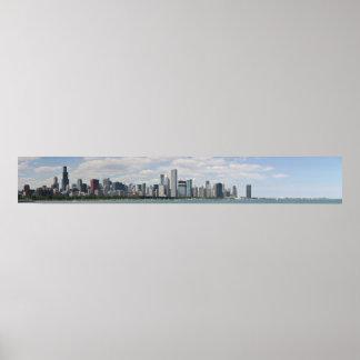 Poster Horizon de Chicago comme vu du planétarium d'adler