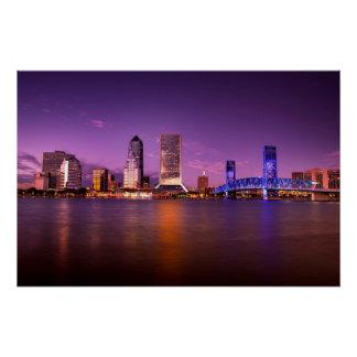 Poster Horizon de Jacksonville la Floride la nuit