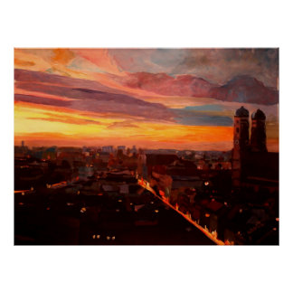 Poster Horizon de Munich à l'aube
