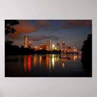 Poster Horizon de nuit d'Austin le Texas de lac ladybird